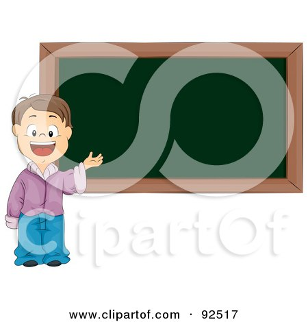 Smart School Boy Presenting By A Blank Chalk Board Posters, Art Prints