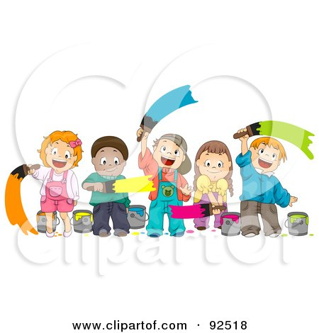 Royalty-Free (RF) Clipart Illustration of a Group Of Happy Diverse Children Painting With Different Colors by BNP Design Studio