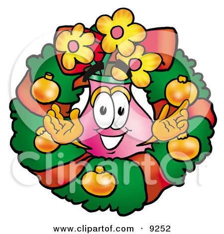 Clipart Picture of a Vase of Flowers Mascot Cartoon Character in the Center of a Christmas Wreath by Toons4Biz