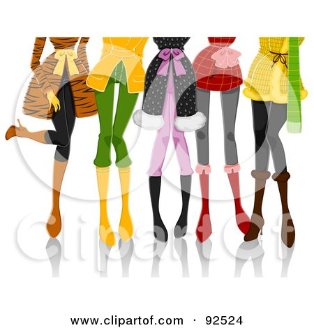 Royalty-Free (RF) Clipart Illustration of Legs Of Fashionable Ladies In Winter Clothes by BNP Design Studio