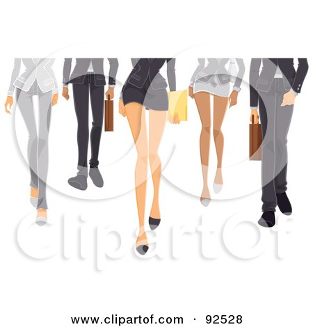Royalty-Free (RF) Clipart Illustration of Legs Of A Business Team Walking Forward by BNP Design Studio
