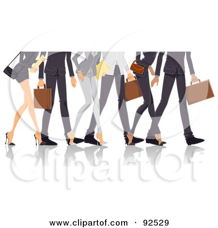 Royalty-Free (RF) Clipart Illustration of Legs Of Professional Men And Women Walking by BNP Design Studio