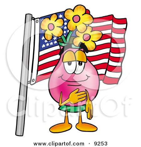 Clipart Picture of a Vase of Flowers Mascot Cartoon Character Pledging Allegiance to an American Flag by Toons4Biz