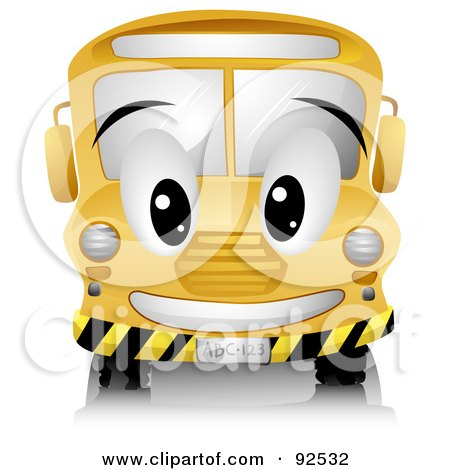 Royalty-Free (RF) Clipart Illustration of a Friendly Yellow School Bus Character by BNP Design Studio