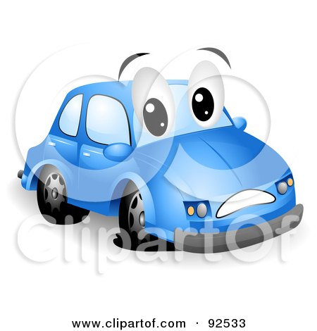 Royalty-Free (RF) Clipart Illustration of a Blue Car Character With A Flat Tire by BNP Design Studio