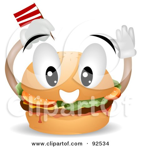 Royalty-Free (RF) Clipart Illustration of a Friendly Hamburger Character Sticking A Flag In His Bun by BNP Design Studio