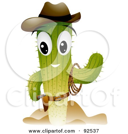 Royalty-Free (RF) Clipart Illustration of a Cowboy Cactus Character Waving by BNP Design Studio