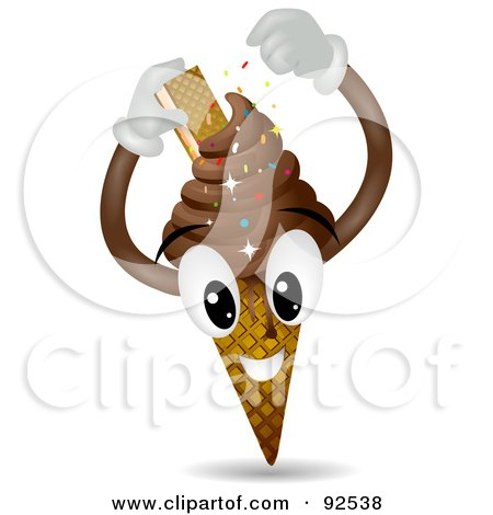 Chocolate Ice Cream Cone Character With A Cookie And Sprinkles Posters, Art Prints
