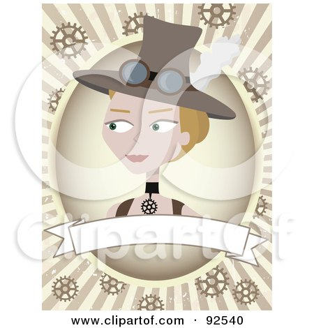 Royalty-Free (RF) Clipart Illustration of a Steampunk Woman Over A Blank Banner Over Rays And Gears by mheld