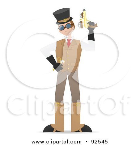 Royalty-Free (RF) Clipart Illustration of a Steampunk Man Holding Up A Gun by mheld