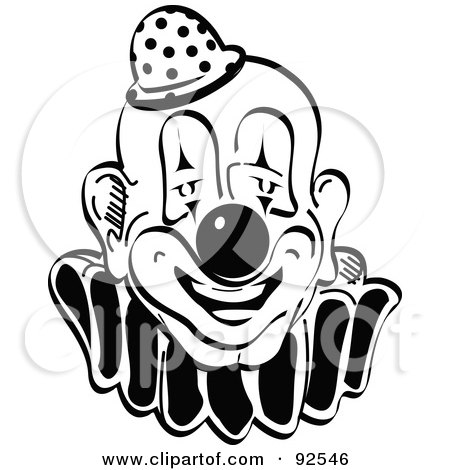 Royalty-Free (RF) Clipart Illustration of a Black And White Party Clown by Andy Nortnik