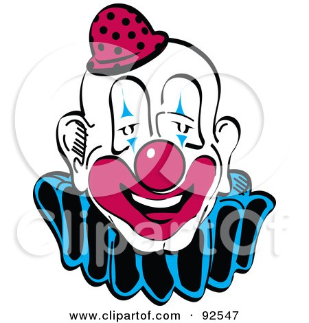 Royalty-Free (RF) Clipart Illustration of a Goofy Faced Party Clown by Andy Nortnik