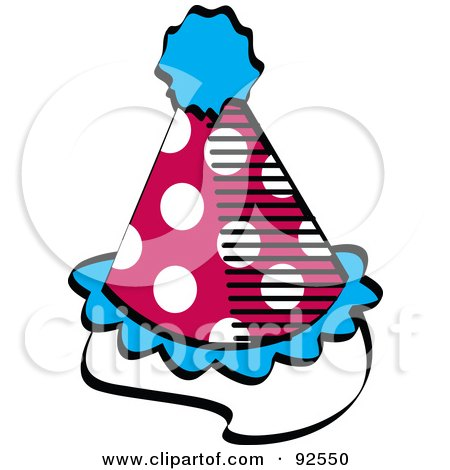 Royalty-Free (RF) Clipart Illustration of a Spotted Red, White And Blue Party Hat by Andy Nortnik