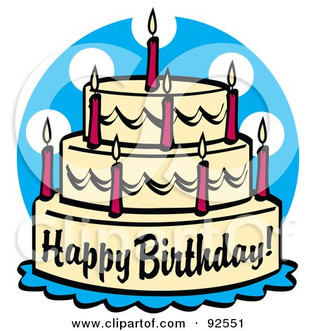 Royalty-Free (RF) Clipart Illustration of a Triple Tiered Birthday Cake With Candles by Andy Nortnik