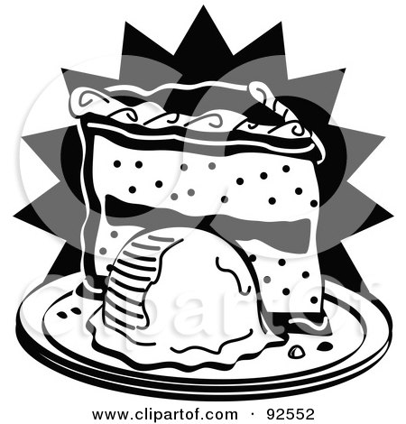 Royalty-Free (RF) Clipart Illustration of a Black And White Slice Of Cake And Ice Cream by Andy Nortnik