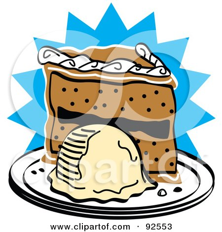 Royalty-Free (RF) Clipart Illustration of a Slice Of Birthday Cake And Ice Cream by Andy Nortnik