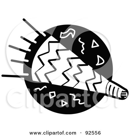 Royalty-Free (RF) Clipart Illustration of a Black And White Party Horn Over A Black Circle by Andy Nortnik