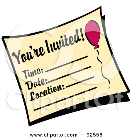 Royalty-Free (RF) Clipart Illustration of a You're Invited Birthday Party Invitation by Andy Nortnik