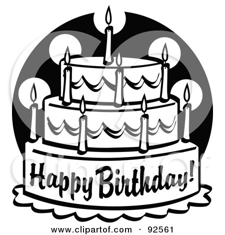 Happy Birthday Black And White Cake