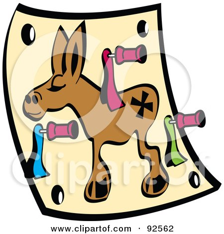 Royalty-Free (RF) Clipart Illustration of a Pin The Tail On The Donkey Game by Andy Nortnik