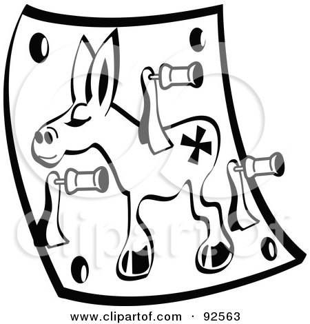 Royalty-Free (RF) Clipart Illustration of a Black And White Pin The Tail On The Donkey Game by Andy Nortnik