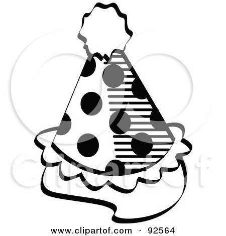 Royalty-Free (RF) Clipart Illustration of a Spotted Black And White Party Hat by Andy Nortnik