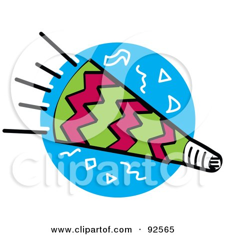Royalty-Free (RF) Clipart Illustration of a Pink And Green Party Horn Over A Blue Circle by Andy Nortnik