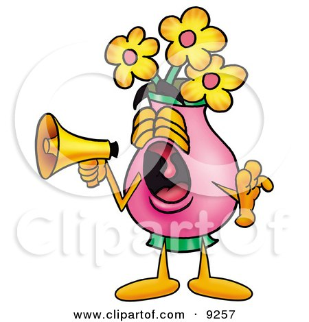 Clipart Picture of a Vase of Flowers Mascot Cartoon Character Screaming Into a Megaphone by Toons4Biz
