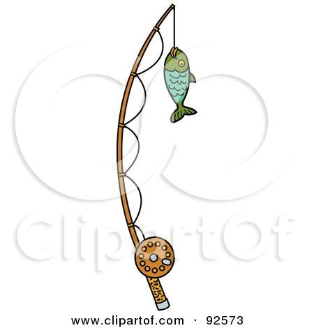 Royalty-Free (RF) Clipart Illustration of a Fish Caught On A Fishing Pole by Andy Nortnik