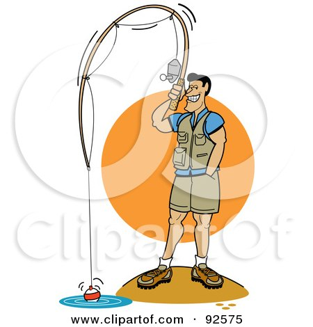 Royalty-Free (RF) Clipart Illustration of a Man Standing On Shore And Fishing by Andy Nortnik