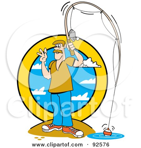 Royalty-Free (RF) Clipart Illustration of a Waving Man On Shore And Fishing by Andy Nortnik
