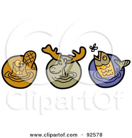 Royalty-Free (RF) Clipart Illustration of a Digital Collage Of A Wading Beaver, Moose And Trout by Andy Nortnik