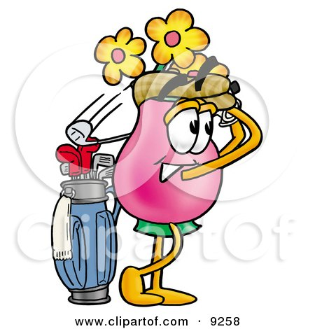 Clipart Picture of a Vase of Flowers Mascot Cartoon Character Swinging His Golf Club While Golfing by Toons4Biz