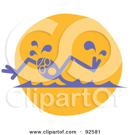 Royalty-Free (RF) Clipart Illustration of a Professional Swimmer Turning His Head To Catch A Breath by Andy Nortnik