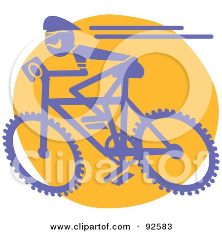 Royalty-Free (RF) Clipart Illustration of a Blue Cyclist On A Mountain Bike by Andy Nortnik