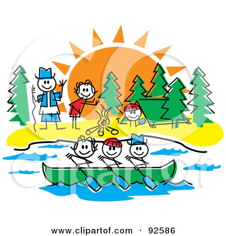 Royalty-Free (RF) Clipart Illustration of a Stick Guide And Children Rowing And Making A Fire At A Camp Ground by Andy Nortnik