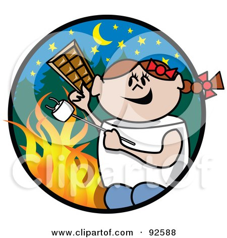 Royalty-Free (RF) Clipart Illustration of a Brunette Girl Holding Chocolate And Roasting A Marshmallow By A Campfire by Andy Nortnik