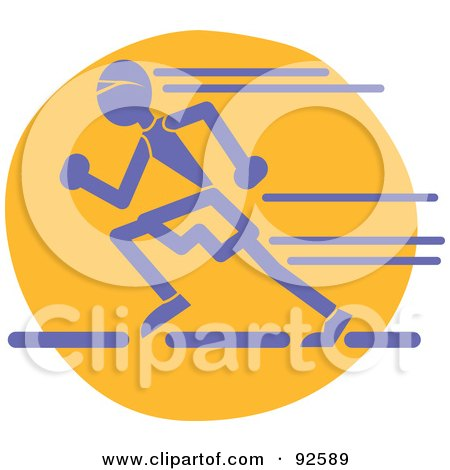 Royalty-Free (RF) Clipart Illustration of a Blue Man Sprinting by Andy Nortnik