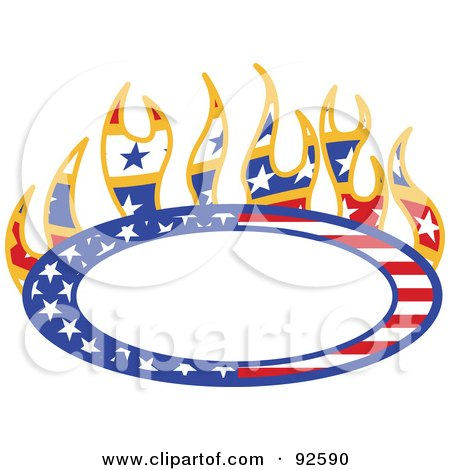 Royalty-Free (RF) Clipart Illustration of a Flaming Americana Oval With Copyspace by Andy Nortnik