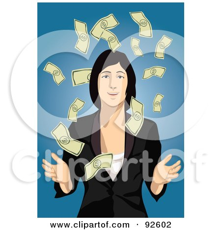 Royalty-Free (RF) Clipart Illustration of a Business Woman Surrounded By Falling Cash, On Blue by mayawizard101