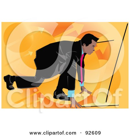 Royalty-Free (RF) Clipart Illustration of a Business Man Lined Up To Race - 2 by mayawizard101