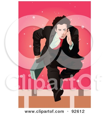 Royalty-Free (RF) Clipart Illustration of a Business Man Jumping Hurdles by mayawizard101