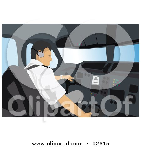 Royalty-Free (RF) Clipart Illustration of a Professional Pilot - 2 by mayawizard101