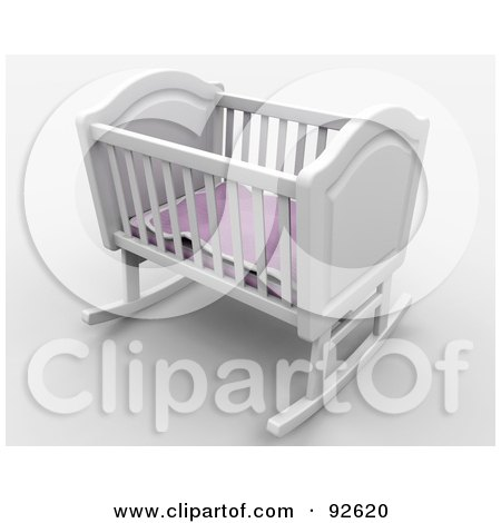 Royalty-Free (RF) Clipart Illustration of a 3d White Rocker Baby Crib With A Pink Blanket by KJ Pargeter