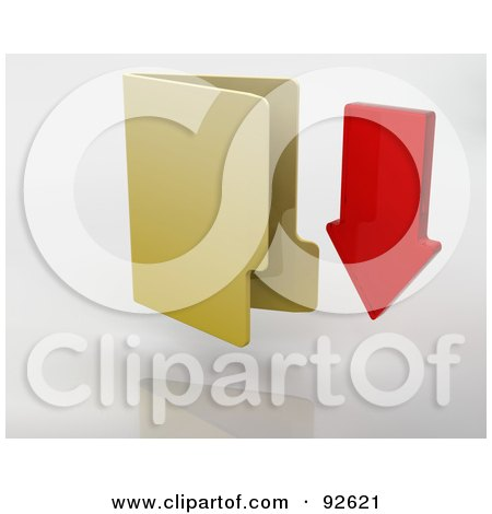 Royalty-Free (RF) Clipart Illustration of a 3d Red Arrow Pointing Down By A Yellow Folder by KJ Pargeter