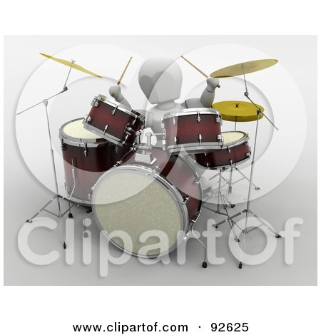 Royalty-Free (RF) Clipart Illustration of a 3d White Character Drumming by KJ Pargeter