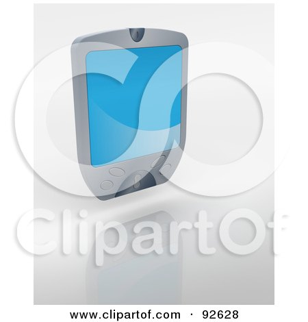 Royalty-Free (RF) Clipart Illustration of a 3d Silver Palm Pilot With A Blue Screen by KJ Pargeter