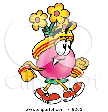 Clipart Picture of a Vase of Flowers Mascot Cartoon Character Speed Walking or Jogging by Toons4Biz