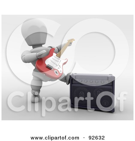 Royalty-Free (RF) Clipart Illustration of a 3d White Character Playing A Guitar By A Speaker by KJ Pargeter