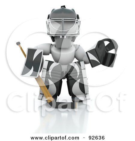 Royalty-Free (RF) Clipart Illustration of a 3d White Character Hockey Goalie In Black And White Padding by KJ Pargeter